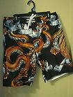 new mens Joe Boxer black snake skull and eagle swim trunks med beach