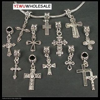 wholesale lots 30x mixed Tibetan silver Cross DANGLE Charms Beads