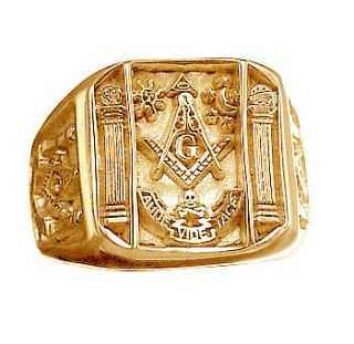 gold vermeil real Sterling silver free mason MASONIC RING Jewelry