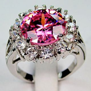 Jewelry gift New pink sapphire ladys white Gold GF Ring sz7/8/9 free