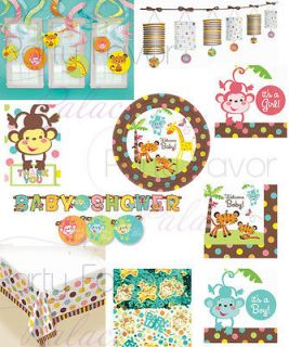 Fisher Price Welcome Baby Shower Jungle Plates Lantern Banner Napkins