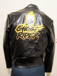 COMICS GHOST RIDER BLACK PVC HALLOWEEN COSTUME MENS DISGUISE JACKET