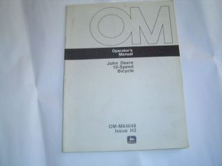 John Deere 10 speed bike bicycle operators manual