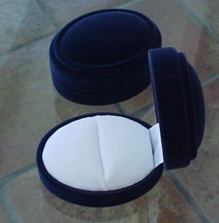 NAVY BLUE Velveteen Domed Antique Style OVAL RING Jewelry Gift Box