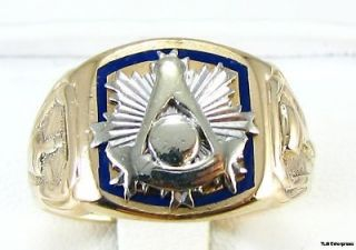 MASTER Masonic Band   14k Yellow & White GOLD Solid Back Mason RING