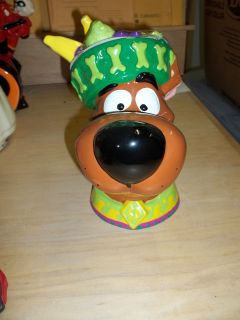 Scooby Doo Dog Cookie jar/Fruit hat for top of jar/Mexican dancer