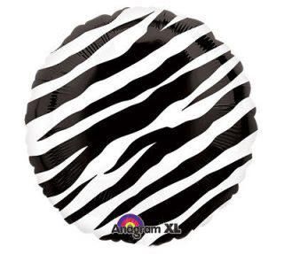 White Zebra Animal Stripe Safari Birthday Baby Shower 18 Balloon
