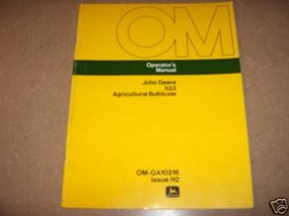 John Deere 523 front mount dozer blade owners manual JD