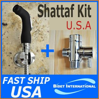 Black Shattaf Kit   Hand Held Bidet Sprayer + Brass T adapter   Bi 400