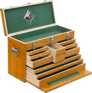 DEFECTIVE 10 DRAWER WOODEN MACHINIST TOOL CHEST WOOD BOX CABINET CASE