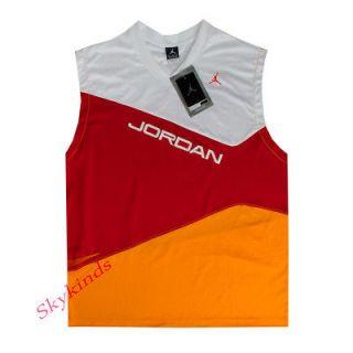 45 Nike Jordan Performance Jersey Sleeveless Shirt White Red Orange
