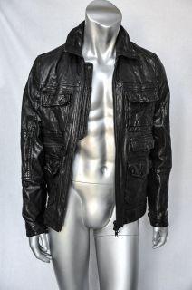 ALL SAINTS SPITALFIELD Mens Black Leather Biker Motorcycle Jacket Coat