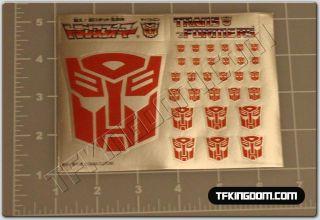Transformers G1 Autobot Insignia Symbol Sticker Decal Sheet for Custom