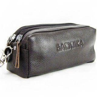 Men lady fashion genuine leather key case brown coin bag for friend