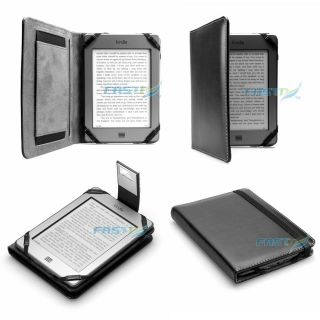 PREMIUM BLACK PU LEATHER KINDLE TOUCH / 4 WiFi CASE COVER WALLET WITH