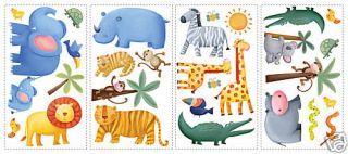 JUNGLE WiLd ANIMALS 29 BiG Vinyl Wall STICKERS Kids Zoo Room Decor