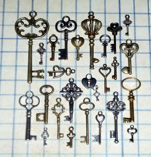 old  skeleton key lot pendant heart bow charm lock craft jewelry