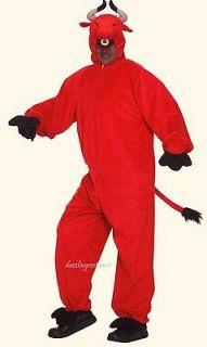 crimson red toro bull costume adult standard hood animal mascot horns