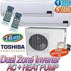 Ductless Mini Split Air Conditioner AC Heat Pump, 18000 BTU Dual Zone