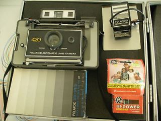 Polaroid 420 Automatic Land Camera w/Case, Film, Flash, and Flashcube