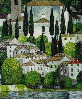 "Landscape Rep Hand Painted Oil Painting 20*24"" Gustav Klimt Church"