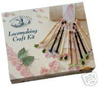 LACE MAKING CRAFT KIT BY HOUSE OF CRAFTS BOBBINS WIRE +