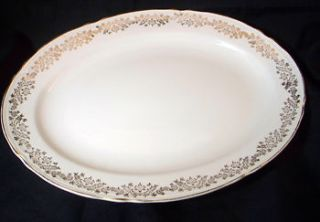 Edwin Knowles Semi Vitreous Platter   Gold Floral