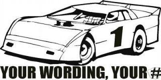 DIRT ASPHALT TRACK LATE MODEL RACING TIRE NUMBER DECAL