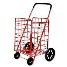 Heavy Duty Folding Shopping Cart for Grocery, Laundry & more   Red