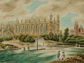 Antique 1839 British English Landscape Miniature Painting ETON COLLEGE