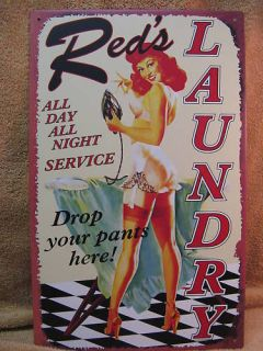 Reds Laundry Service Tin Metal Sign FUNNY Wash Room