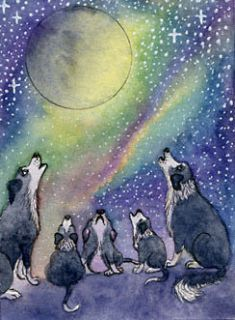 Border Collie dog pup absent friends signed ACEO art card print Susan