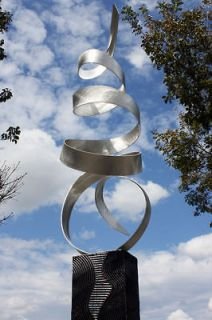 Large Modern Abstract Metal Art Decor Sculpture Silver Sea BreezeBy