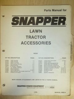 1986 SNAPPER RIDING LAWN TRACTORS ACCESSORIES PARTS MANUAL NO. 06614