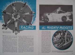 Vintage * RACING the MIGHTY MIDGETS * 1939 ARTICLE Dirt Track Race Car
