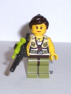 Lego Dino Minifigure, HERO Female with Tranquilizer Gun and Dart. New