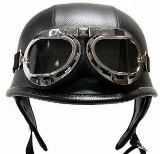 Style DOT Black Leather German Motorcycle HALF Helmet w/Pilot Goggles