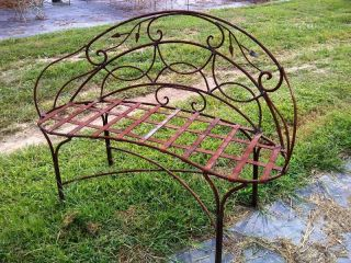 Large Wrought Iron Curl Bench w/ Leaves, Several colors, Patio & Deck