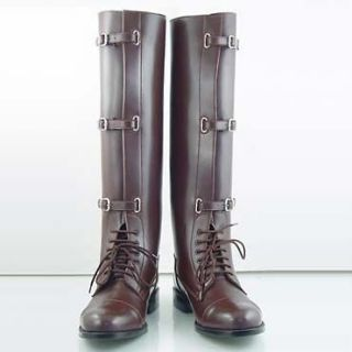 New Men Equestrian Field Wide Buckle English Horse Riding Boots Size 9