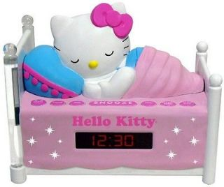 KT2052 Sleeping Kitty Alarm Clock Radio w/ Night Light & Sleep Timer
