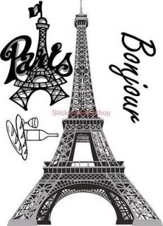 EIFFEL TOWER Paris Home Room Wall/Mural Window Decor Stickers decals