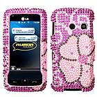 LG Rumor TOUCH LN510 UN510 Pink Blooming Flower BLING HARD CASE COVER