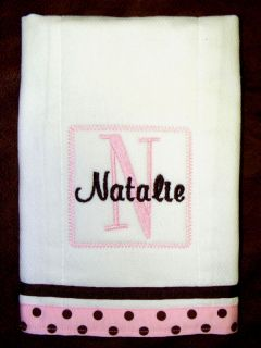 BABY BURP CLOTH MONOGRAMMED /PERSONALIZED/EMBROIDERED
