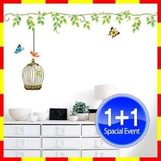 SW 11 BIRD CAGE DECO MURAL ART WALL PAPER STICKER