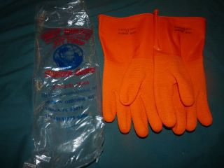 Best Quality JOY FISH Rubber Gloves LONG Orange TEXTURED GRIP Sz 11