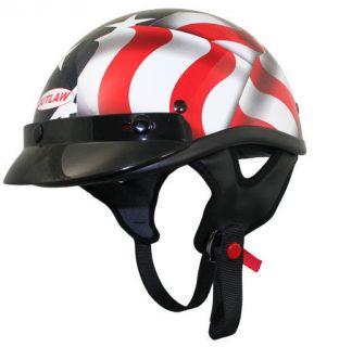 FLAG 3D FULL HELMET DOT Lightweight Motorcycle Biker Outlaw T 70