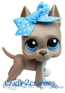 Littlest Pet Shop ♥ LPS ♥ RARE GREY GREAT DANE DOG BLUE EYES