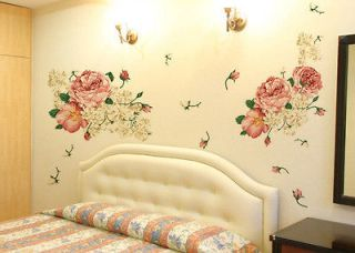 Huge Luxury Peony Flowers Wall Stickers Art Mural Decor Decal Living