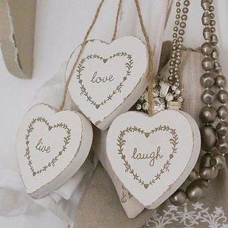 LIVE LAUGH LOVE THREE HANGING WOODEN HEARTS MAKE A GREAT GIFT OR