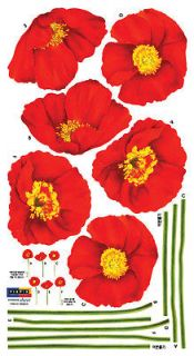 Red Poppy Flowers Instant Art Decor Removable Wall Sticker Decal